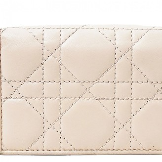 Christian Dior Lady Beige Leather Wallets