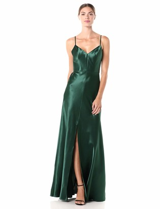 Jenny Yoo Women's Dina Thin Strap V Neck A Line Satin Back Crepe Long Gown