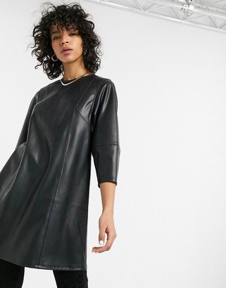 Weekday Meral faux leather mini dress in black