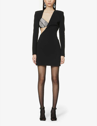 David Koma Asymmetric beaded crepe mini dress