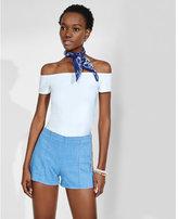 Express blue side zip stretch denim shorts