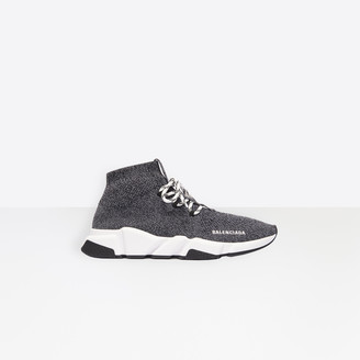 Balenciaga Speed Lace-Up in black heather knit, white and black sole unit