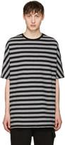 Diesel Black Gold Black and Grey Striped T-shirt