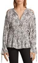 AllSaints Lavete Paisley Print Cold-Shoulder Top