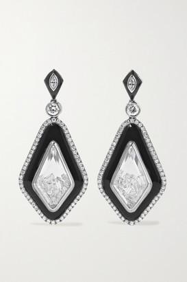 Moritz Glik 18-karat Gray Gold Palladium, Enamel, Sapphire Crystal And Diamond Earrings - Silver
