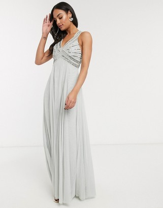 ASOS DESIGN linear embellished bodice maxi dress
