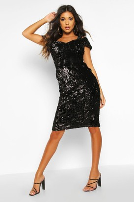 boohoo Velvet Sequin Cupped off the Shoulder Midi Dress