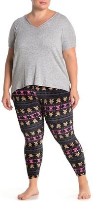 Planet Gold Holiday Print Knit Pajama Leggings (Plus Size)