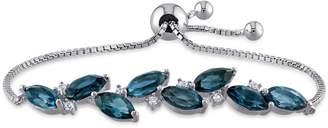 Laura Ashley Sterling Silver Blue Topaz Bolo Bracelet