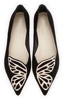 Sophia Webster Bibi Butterfly Embroidered Suede Flat, Black/Rose Gold