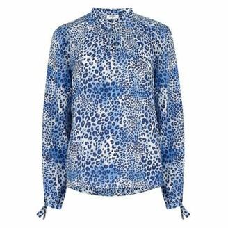 Mercy Delta - Blue Hinton Ombre Cheetah Silk Blouse - Medium.