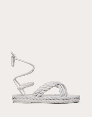 Valentino The Rope Nappa Sandal Women Black Lambskin 100% 35