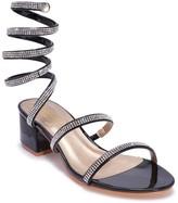 Truffle Collection Black Diamante Strappy Wrap Around Sandals
