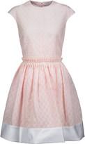 Carven Satin-trimmed cotton-blend seersucker mini dress