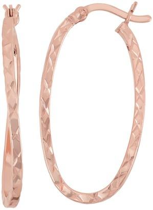 14k Rose Gold Over Silver Twist Oval Hoop Earrings