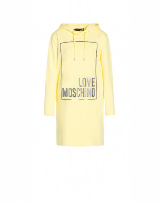 Love Moschino Iridescent Logo Stretch Fleece Dress Woman Yellow Size 38 It - (4 Us)