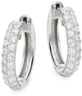 Diana M 14K White Gold & 0.41 TCW Diamond Pave Huggie Hoop Earrings