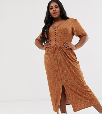 Asos DESIGN Curve jersey crepe maxi tea dress with self covered buttons in brown spot