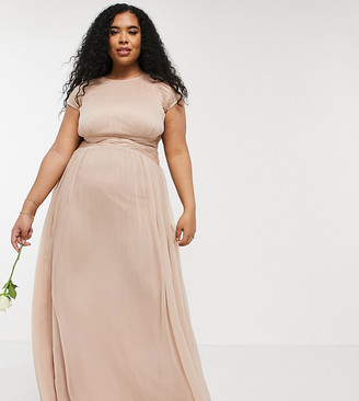 ASOS DESIGN Curve Bridesmaid ruched bodice maxi dress with cap sleeve detail