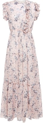 Maje Ruffle-trimmed Floral-print Cotton-voile Maxi Dress