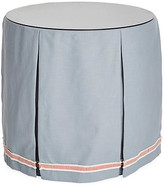 One Kings Lane Eden Round Skirted Table - Blue/Coral