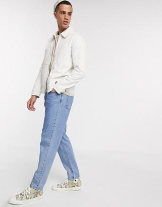 ASOS DESIGN denim jacket in ecru with zip