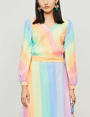 Olivia Rubin Kendall rainbow-striped wrap-over sequinned blouse