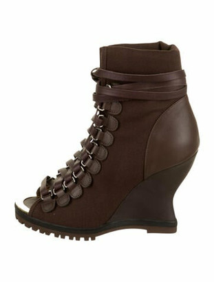 Chloé Canvas Wedge Booties Brown