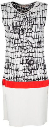 Giambattista Valli Monochrome Jacquard Knit Contrast Waist Detail Sleeveless Dress L