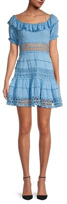 Free People Cruel Intentions Macrame Ruffles Mini Dress