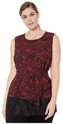 MICHAEL Michael Kors Size Lace Trim Tunic (Red Currant) Women's Clothing