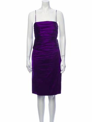 Ralph Lauren Silk Knee-Length Dress Purple
