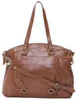Front Pocket Leather Tote