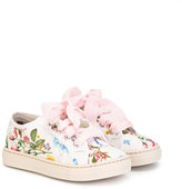 MonnaLisa floral print sneakers - kids - Leather/Canvas/rubber - 32
