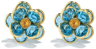 GUITA M 18kt Yellow Gold, Topaz And Citrine Flower Clip-On Earrings