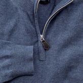 Charles Tyrwhitt Blue cotton cashmere zip neck jumper