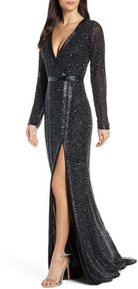 Mac Duggal Long Sleeve Beaded Gown