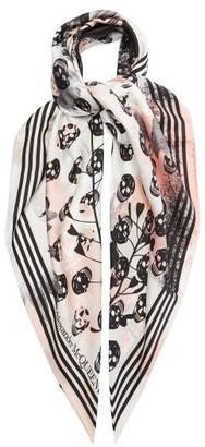 Alexander McQueen Skull-print Silk-faille Scarf - Multi