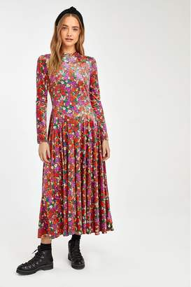 Free People Womens Red Heartland Velvet Midi Dress - Red