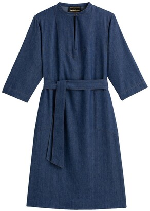 Vanessa Seward X La Redoute Collections Denim Shift Dress with 3/4 Sleeves
