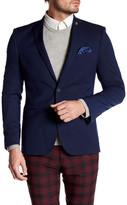 Nick Graham Navy Polka Dot Two Button Notch Lapel Stretch Modern Fit Sportcoat