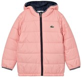 Lacoste Pink and Navy Reversible Hooded Puffer Coat