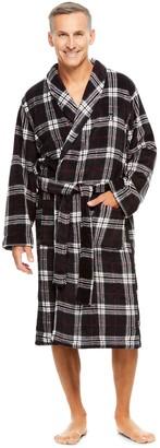 Haggar Men's Coral Plaid Shawl-Collar Fleece Robe