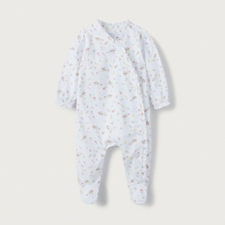 The White Company Organic-Cotton Marcie Floral Frill Sleepsuit, White, 12-18mths