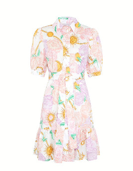 Hayley Menzies Mini Cotton Shirt Dress with Sash Luna Flora - xsmall