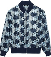 DKNY Floral-embroidered mesh bomber jacket