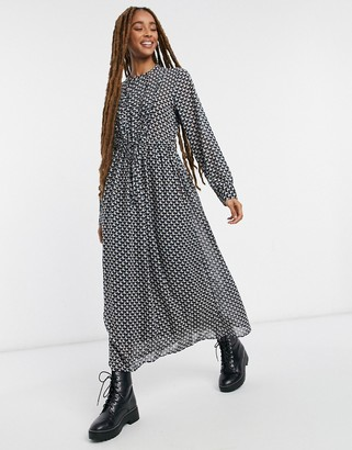 JDY midi dress with ruffle detail in geometric print