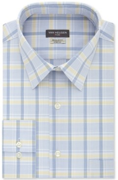 Van Heusen Men's Classic/Regular-Fit Wrinkle-Free Performance Stretch Flex Collar Check Dress Shirt