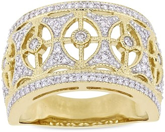 Miadora Signature Collection 10k Yellow Gold 1/2ct TDW Diamond Openwork Vintage Anniversary Ring