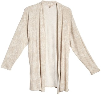 Como Vintage Tonal Print Long Sleeve Cardigan (Plus Size)